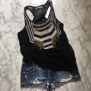 Halogen black beaded tank. Silver and gold